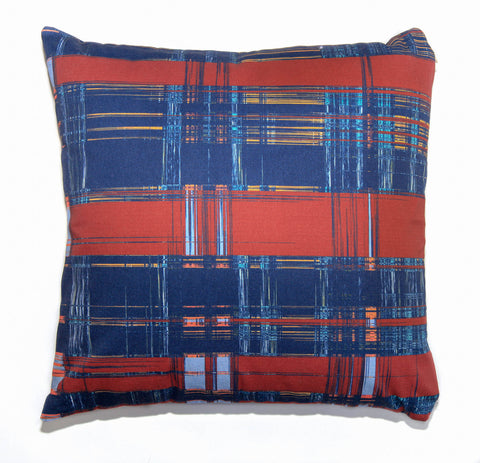 Outdoor Blue Plaid Throw Pillow by elise flashman
