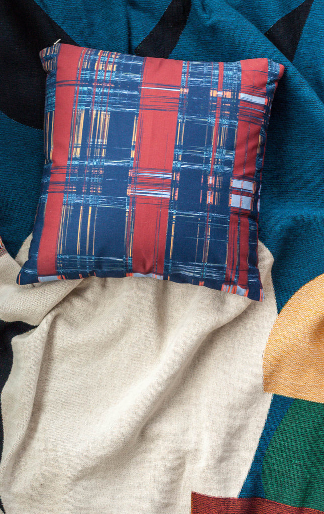 Outdoor Blue Plaid Throw Pillow