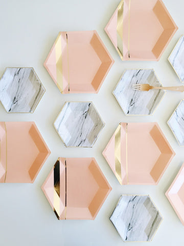 Set of 8 Goddess Blush Hexagon Large Party Plates design by Harlow & Grey