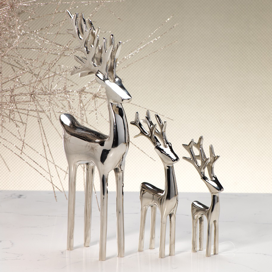 Reindeer Decorative Figure - Polished Nickel in Various Sizes