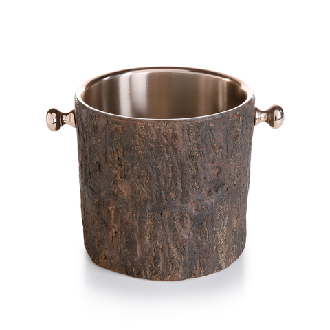 Aspen Ice Bucket - Rose Gold with Wood Inlay