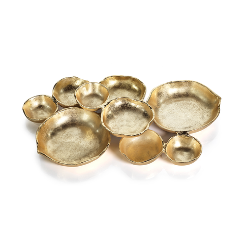 Cluster of 9 Round Serving Bowls Gold