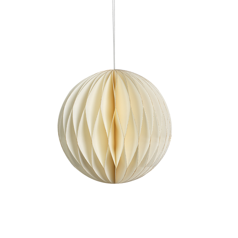 Wish Paper Decorative Ball OrnamentS - Ivory with Gold Glitter Edges