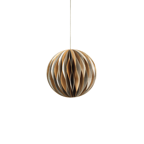 Wish Paper Decorative Ball Ornament - Off White, Gold, and Grey - Medium