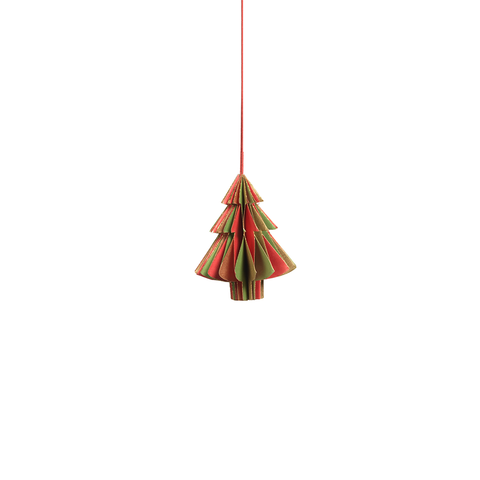 Wish Paper Decorative Tree Ornaments - Red, Green and Gold