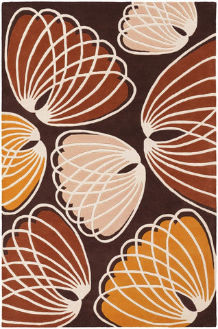 Inhabit Collection Hand-Tufted Area Rug, Brown w/ Red & Orange design by Chandra rugs