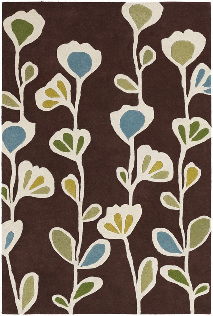 Inhabit Collection Hand-Tufted Area Rug, Brown w/ Flowers design by Chandra rugs