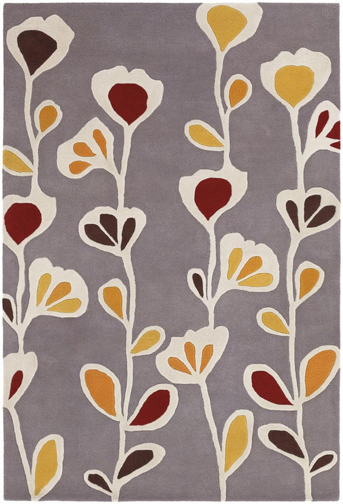 Inhabit Collection Hand-Tufted Area Rug, Grey w/ Flowers design by Chandra rugs