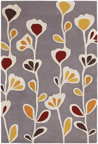 Inhabit Collection Hand-Tufted Area Rug, Grey w/ Flowers