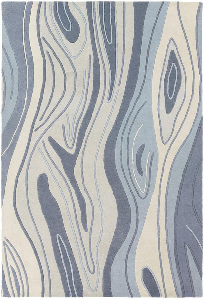 Inhabit Collection Hand-Tufted Area Rug, Blue Wood Grain design by Chandra rugs