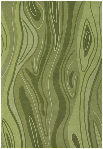Inhabit Collection Hand-Tufted Area Rug, Green Wood Grain design by Chandra rugs