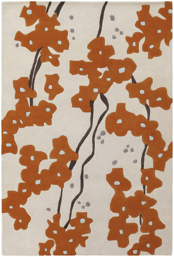 Inhabit Collection Hand-Tufted Area Rug, Beige w/ Orange Flowers design by Chandra rugs