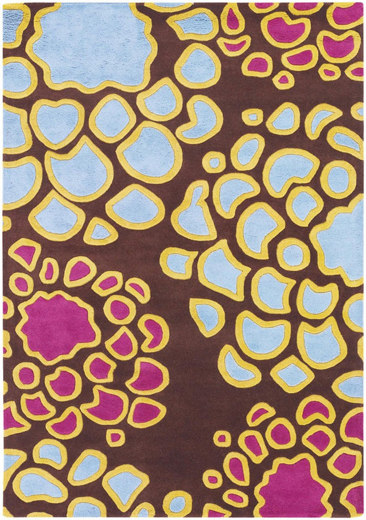 Inhabit Collection Hand-Tufted Area Rug, Brown w/ Blue & Purple design by Chandra rugs