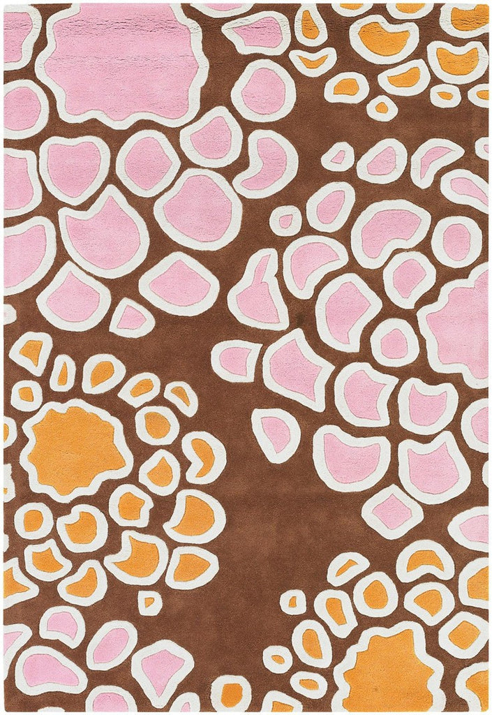 Inhabit Collection Hand-Tufted Area Rug, Brown w/ Pink & Orange design by Chandra rugs