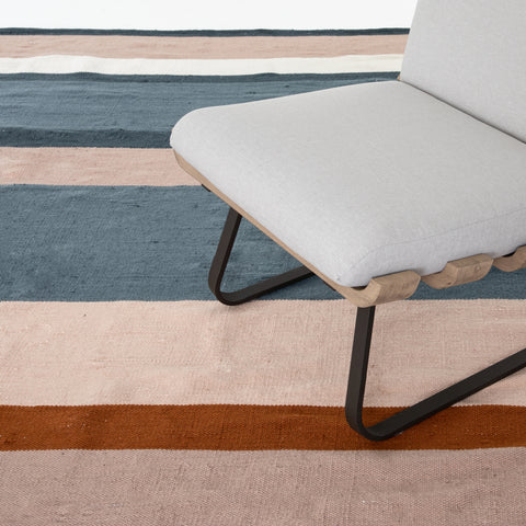 Senna Outdoor Rug in Navy, Orange & Blush