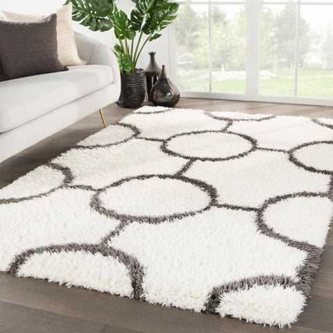 Vita Geometric Ivory & Dark Gray Rug design by Jaipur