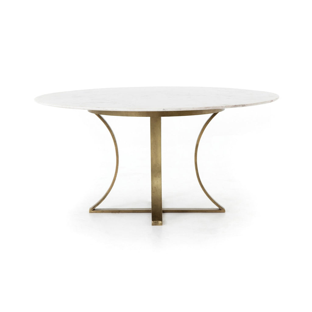 Gage Dining Table in Polished White Marble