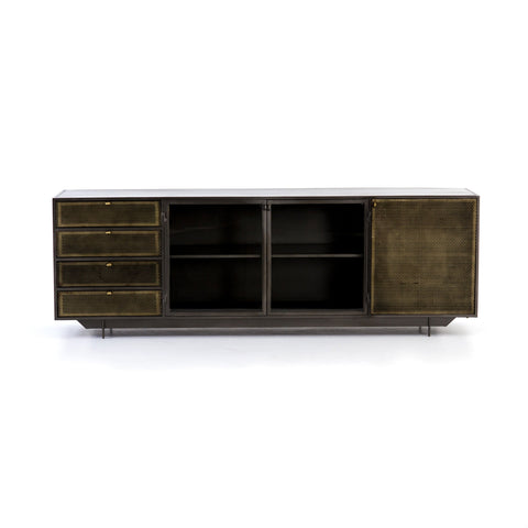 Hendrick Media Console in Perforated Brass