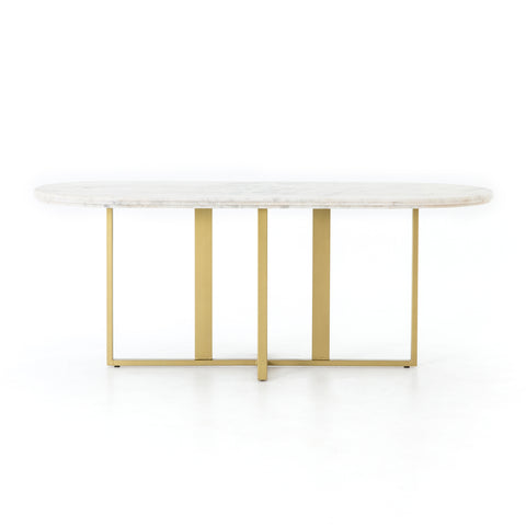 Devan Oval Dining Table in White Marble by BD Studio