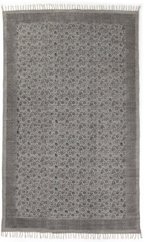 Flatweave Faded Print Rug in Faded Black