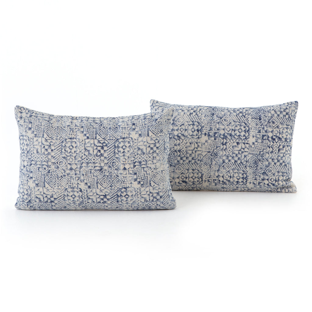 Set Of 2 Faded Mosaic Print Lumbar Pillows