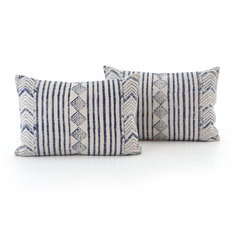 Set of 2 Faded Blue Diamond Lumbar Pillows
