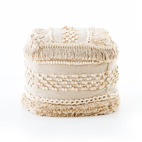 Braided Fringe Pouf in Cream