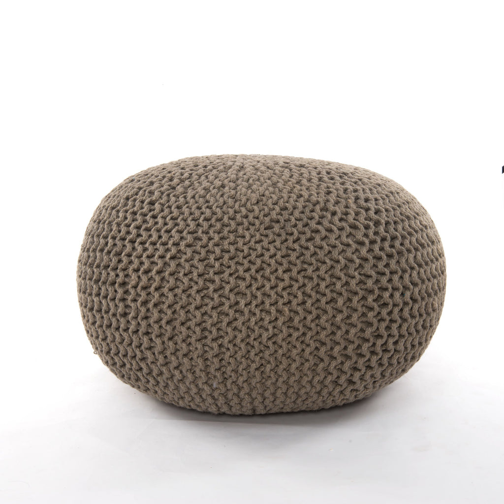 Jute Knit Pouf in Clay