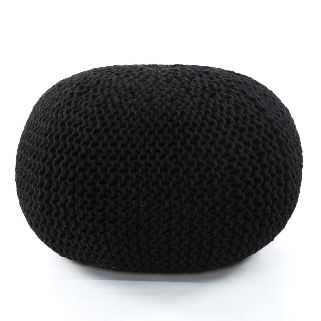 Jute Knit Pouf in Black