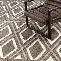 Grey & Cream Diamond Flatweave Rug by BD Studio
