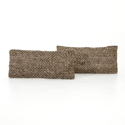 Set of 2 Stone Braided Block Pillows in Various Sizes