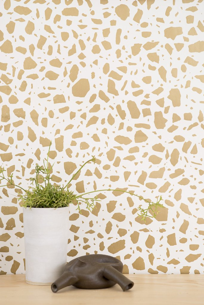 Ibo Wallpaper in Gold on Cream design by Juju