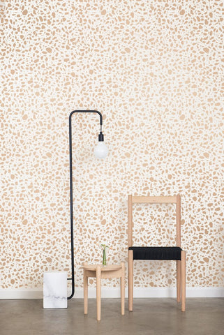 Ibo Wallpaper in Rose Gold on Cream design by Juju