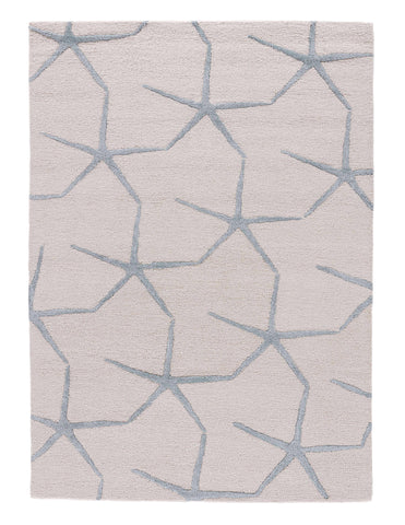 Starfishing Handmade Animal White & Blue Area Rug