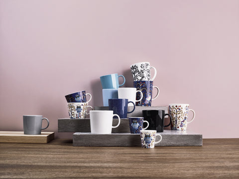 Taika Mugs & Saucers in Various Sizes & Colors design by Klaus Haapaniemi for Iittala