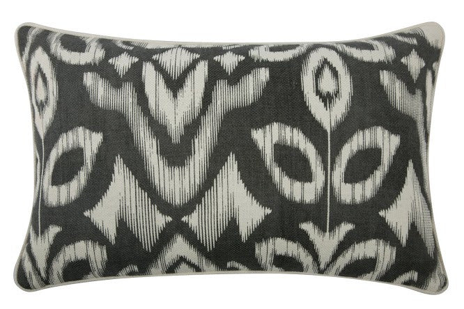 "Ikat 12"" x 20"" Reversible Pillow in Charcoal design by Thomas Paul"