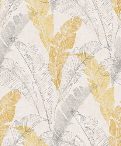 Sample Illustrated Feathers Wallpaper in Yellow by Walls Republic