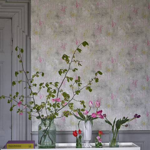 Impasto Wallpaper in Magenta from the Tulipa Stellata Collection by Designers Guild