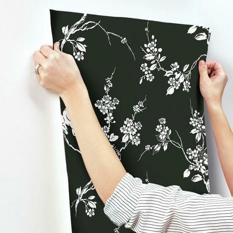 Imperial Blossoms Branch Wallpaper in Black and White from the Silhouettes Collection by York Wallcoverings