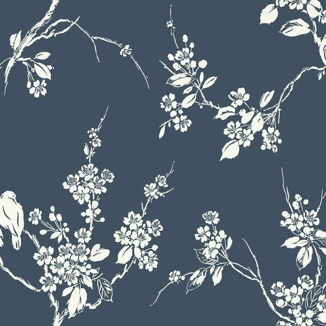 Sample Imperial Blossoms Branch Wallpaper in Navy from the Silhouettes Collection by York Wallcoverings