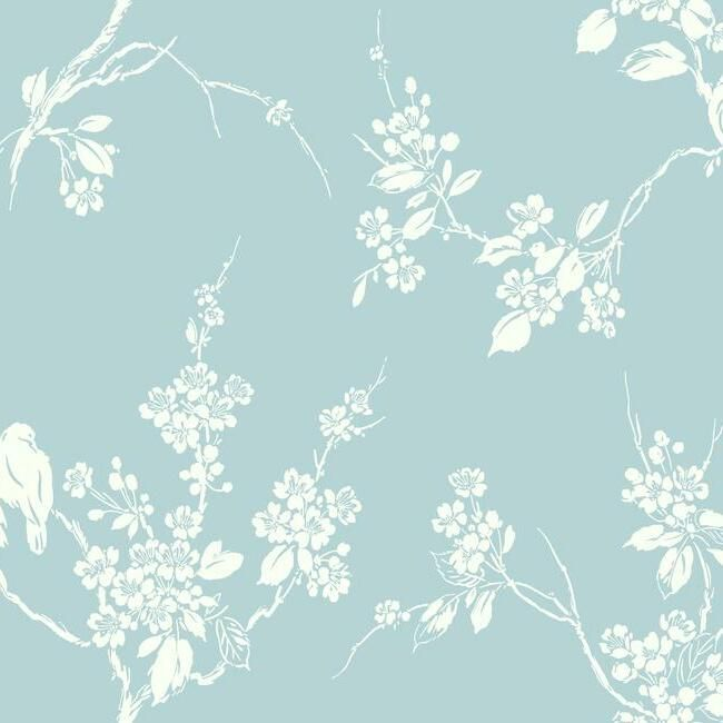 Sample Imperial Blossoms Branch Wallpaper in Robin Egg Blue from the Silhouettes Collection by York Wallcoverings