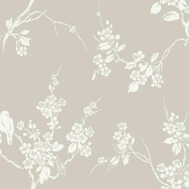 Sample Imperial Blossoms Branch Wallpaper in Taupe from the Silhouettes Collection by York Wallcoverings