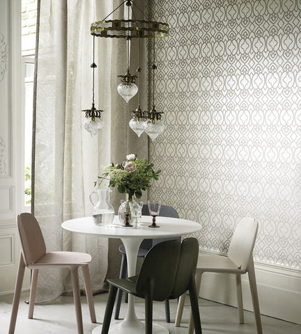 Imperial Lattice Wallpaper in Ivory and Mica by Matthew Williamson for Osborne & Little