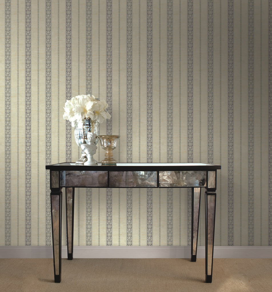 Imperial Stripe Wallpaper in Silver from the Caspia Collection by Wallquest