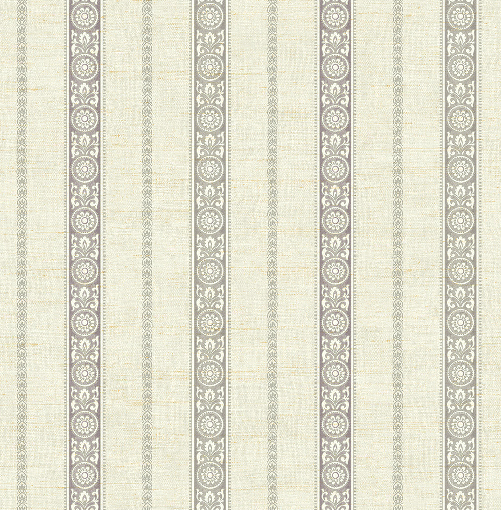 Sample Imperial Stripe Wallpaper in Silver from the Caspia Collection by Wallquest