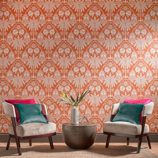 Imperial Wallpaper in Orange from the Exclusives Collection by Graham & Brown