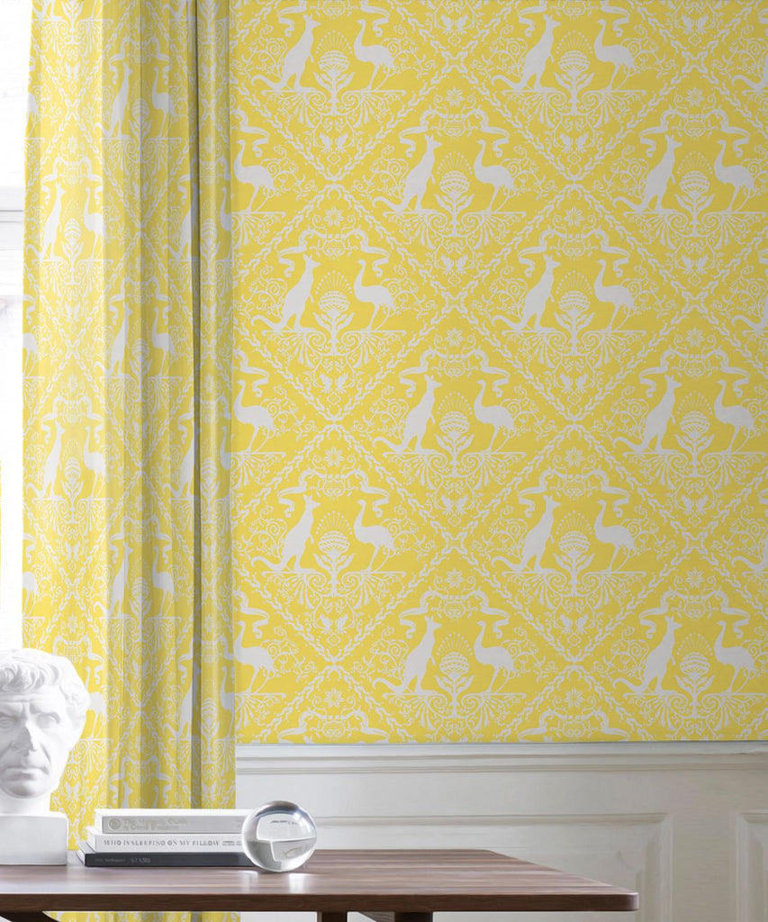 In Australia We Trust Wallpaper in Sunshine from the Kingdom Home Collection by Milton & King