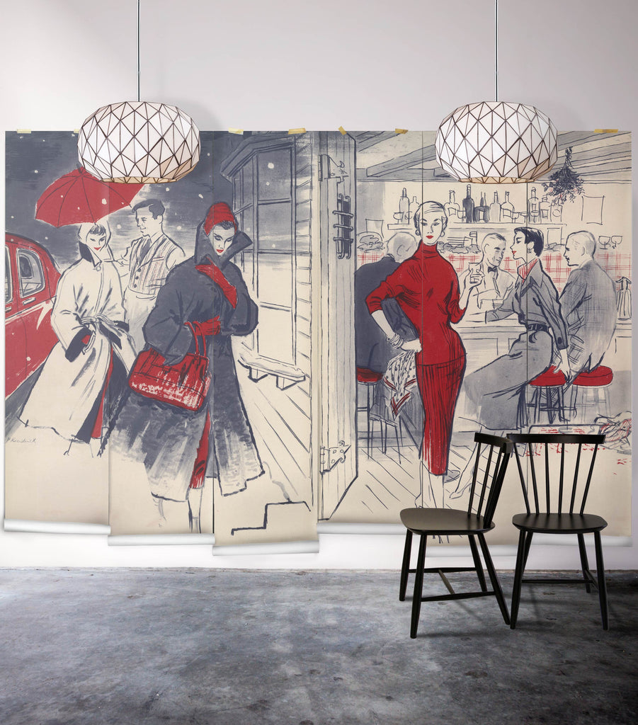 Sample In Vogue Wall Mural from the Erstwhile Collection by Milton & King