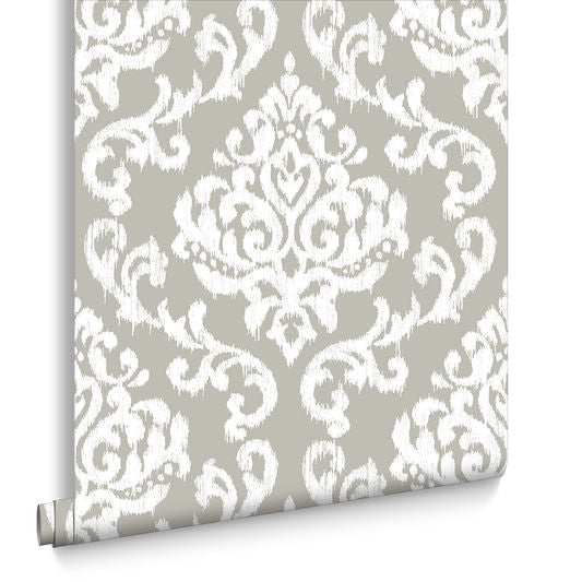 Sample Indian Ink Damask Wallpaper in Stone from the Exclusives Collection by Graham & Brown