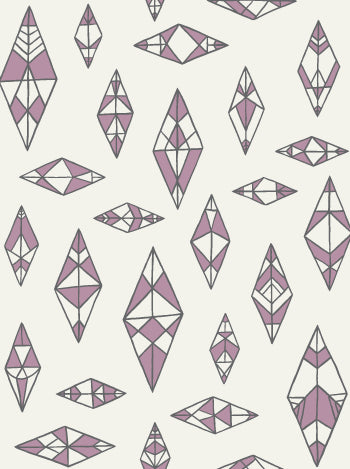 Indian Summer Wallpaper in Cream, Lilac, and Charcoal design by Juju